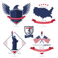 Badge and label set, American independence day, Fourth of July, July 4th. Royalty Free Stock Photo