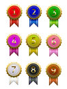 Badge numbers number with different color Royalty Free Stock Photos