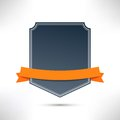 Badge with orange flat ribbon template clip art Stock Photography