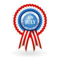 Badge ribbon for independence day th july american rosette with Stock Photo