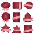 Badge ribbon , Label and Banner Set - bordeau pink