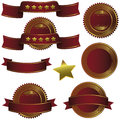 Badge ribbon , Label and Banner Set - bordeau wine gold