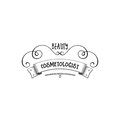 Badge for small businesses - Beauty Salon Cosmetologist. Sticker, stamp, logo - for design, hands made. With the use of