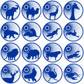 Badges with fauna representatives of the illustration on a white background Stock Images