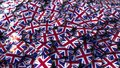 Big pile of badges featuring flags of Great Britain. 3D rendering