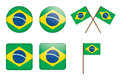 Badges with flag of Brazil Royalty Free Stock Photo