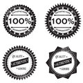 Badges quality goods grungy satisfaction guaranteed ribbon rosette Royalty Free Stock Image
