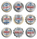 Badges and Stickers. Set of Luxury Silver with Gold, Red and Navy Details. Best Quality. Royalty Free Stock Photo