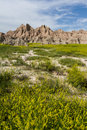 Badlands south dakota beautiful springtime landscape of the in with spring green grass Royalty Free Stock Photo