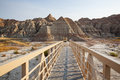 Badlands walkway and rock formations in national park south dakota Royalty Free Stock Photos