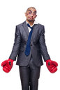 Badly beaten businessman with boxing gloves Royalty Free Stock Images