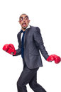 Badly beaten businessman with boxing gloves Royalty Free Stock Photos