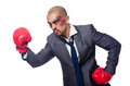 Badly beaten businessman with boxing gloves Stock Images