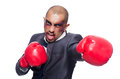 Badly beaten businessman with boxing gloves Stock Image