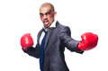 Badly beaten businessman with boxing gloves Royalty Free Stock Image