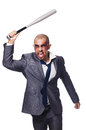 Badly bruised businessman with bat on white Stock Images