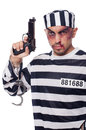 Badly bruised prisoner with gun Royalty Free Stock Images