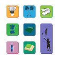 Badminton con set icon of necessary equipment for playing Stock Photos