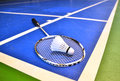 Badminton court with a shuttlecock at the corner Royalty Free Stock Image