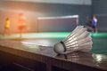 Badminton courts with players competing Royalty Free Stock Photo