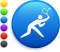 Badminton icon on round internet button Stock Images