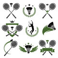 Badminton labels and icons set vector Stock Images