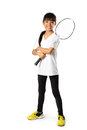 Badminton little asian girls with isolate over white Royalty Free Stock Image