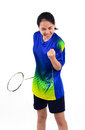 Badminton player in action Royalty Free Stock Photo