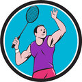 Badminton player racquet striking circle cartoon illustration of a with smashing set inside on isolated background done in style Royalty Free Stock Images