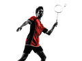 Badminton player young man silhouette one asian in isolated white background Stock Photo