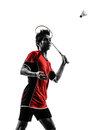 Badminton player young man silhouette one asian in isolated white background Stock Photos