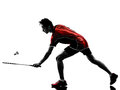Badminton player young man silhouette one asian in isolated white background Stock Photography
