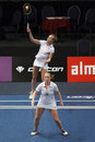 Badminton players Eefje Muskens and Selena Piek Royalty Free Stock Photos