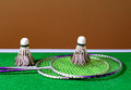 Badminton playing set on the table Royalty Free Stock Images