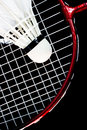 Badminton racket and birdie a with black background Stock Images