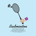 Badminton racket hand holding a vector illustration eps Stock Image