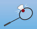 Badminton racket hit hitting shuttlecock Royalty Free Stock Photos