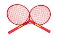 Badminton racket on white isolated object Stock Photo