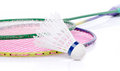 Badminton rackets and shuttlecock isolated on white Royalty Free Stock Photos