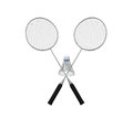 Badminton rackets and a shuttlecock isolated on white background d render Royalty Free Stock Photos