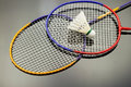 Badminton set closeup of with white feather shuttle laying on black reflective background Stock Photos