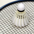 Badminton shuttlecock and racket sport theme Stock Photo