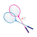 Badminton two rackets for on a white background Stock Photos