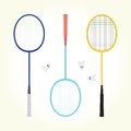 Badminton vector set retro isolated objects Royalty Free Stock Image