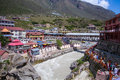 Badrinath town the temple of in the indian himalayan state of uttarakhand Stock Photography