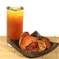Bael juices dried and on wood plate aegle marmelos Stock Image