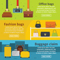 Bag baggage banner horizontal set, flat style