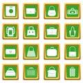 Bag baggage suitcase icons set green