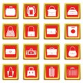 Bag baggage suitcase icons set red