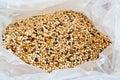 Bag of bird food stock photos Royalty Free Stock Image